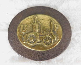 Vintage UF Insurance Company or Fire Department Brass and Leather Paperweight  misc