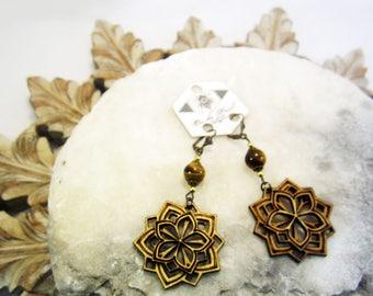 mandala earrings, tiger eye, laser cut earrings, mandala jewelry, laser cut jewelry, statement jewelry, gift ideas, boho jewelry