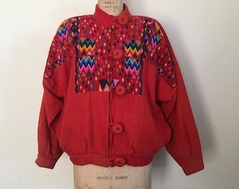 Guatemalan Huipil Jacket Vintage Ixmucane Embroidered Jacket
