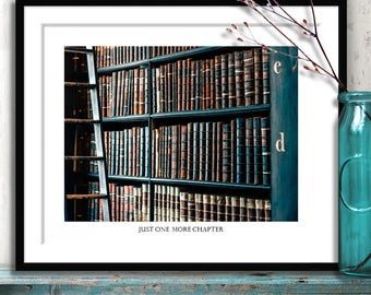 Library Wall Art, One More Chapter, book lover, bibliophile gift, book art print, library art, library print, library decor, book photograph