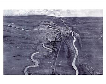 "Calgary Alberta in 1910 Panoramic Bird's Eye View Map by H.M. Burton 22x16"" Reproduction"