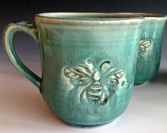 READY TO SHIP Bee mug, stoneware mugs, handmade mugs by Leslie Freeman