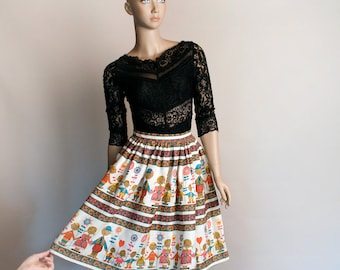 Vintage 1950s Skirt - Novelty Print Little People Family Floral Linen Knee Length Skirt - Small XS