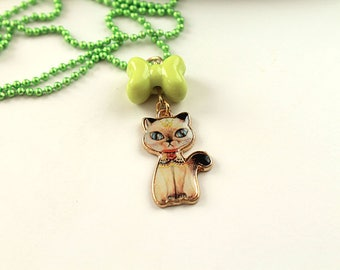 Kawaii siamese cat simple necklace cute lolita girl kitten kitteh kitty retro green bow and chain