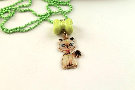 Kawaii siamese cat simple necklace cute lolita girl kitten kitteh kitty retro green bow and chain