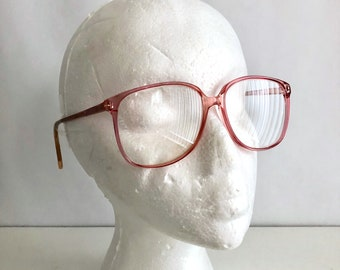 Vintage Women's Glasses 80's Pink, Frames, Oversize, Eyewear by Sovereion