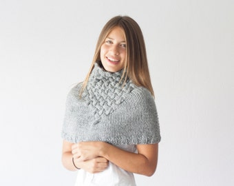 Sales Knit capelet grey with basket pattern neck warmer shoulder warmer knit collar neckwarmer