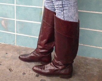 sz 10 vintage flat oxblood brown leather  riding boots bb6