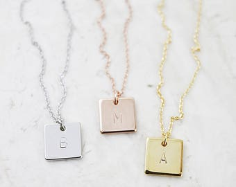 Engraved Square Charm Necklace Personalized Initial Necklace Letters Necklace Bridesmaid Gift
