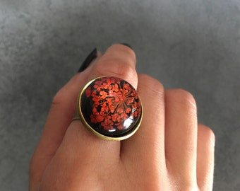 Red Queen Anne's Lace against Black Background in Antique Bronze Ring, Resin Ring, Statement Ring