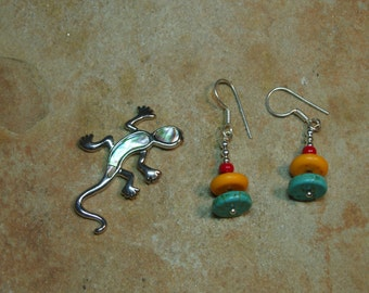 Blue and Yellow Turquoise,Red Coral, 925 Silver Earrings
