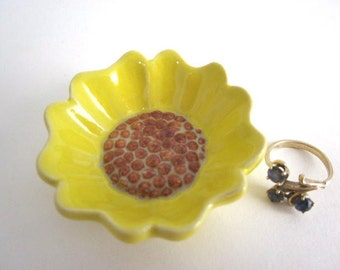 Sunflower ring dish Bathroom decor Ring holder