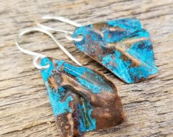 Turquoise earrings - Rustic earrings - casual earrings - boho earrings - tribal earrings - blue earrings - green earrings