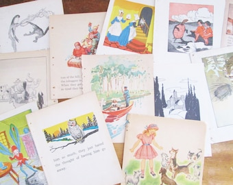 Vintage Children's Story Book Pages 1930's - 1940's Children's Illustrated Book Paper
