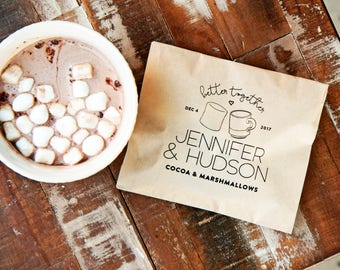 Hot Cocoa Favor - Hot chocolate & marshmallow - Personalized Wedding, anniversary, engagement party favors - Better Together - 20 Kraft Bags