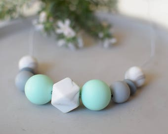Mint and marble grey silicone necklace, baby chewelry, baby nursing necklace, silicone teething necklace, beaded necklace mint grey