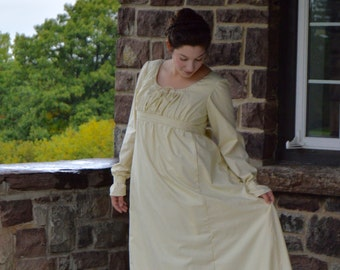 1810's Jane Austen/ Regency Era/ Striped Day Gown with Bow