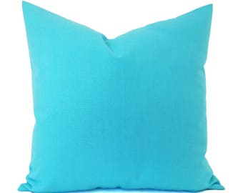 Two Bright Blue Pillow Covers - Solid Blue Pillows - Blue Throw Pillows - Nursery Pillows - Aqua Pillow Cover - Aqua Throw Pillows