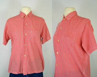 1960s/1970s Red and White Gingham Fitted Farm Blouse, Ranch Wear