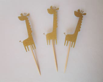 12 Count Giraffe Cupcake Toppers – Birthday Toppers – Baby Shower Toppers– Decorations – Glitter Toppers