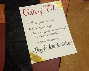 Custom Made Traveler's Notebook Cover / Made to order / Leather Journal