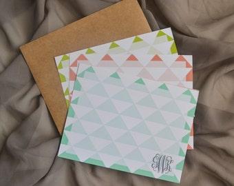 Modern Triangle Monogram Notecards