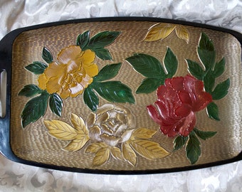 Vintage Black Gold Floral Moulded Serving Tray