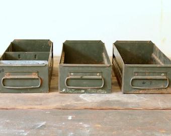 Vintage Industrial Metal Drawers Storage Olive Green DIY Repurpose Vintage Storage Display Decorating Prop Organization