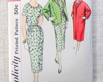 Simplicity 2424 Bust 33 half size 1950s coat Sheath dress Wiggle Bombshell Jacket