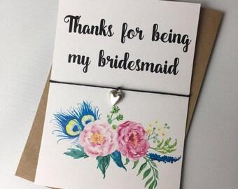 Wish Bracelet / Charm Bracelet / Friendship Bracelet / Wedding / Thanks for being my bridesmaid / Floral / Wedding Favour / Bridesmaid Gift
