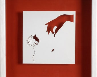 A BIT MUCH - Paper cut and paper sculpture - photographic reproduction on art card