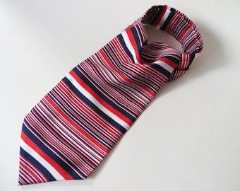 Striped Red Blue Cravat Striped Ascot Cravat Men's Ascot Cravat Red Striped Cravat Men's Dress Up Clothes Stylish Suit Tie Striped Tie