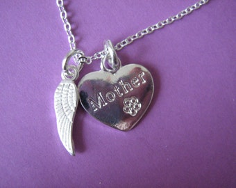 In Memory of Mother Necklace Bereavement Gifts In Sympathy Mother Loss Heart Charm