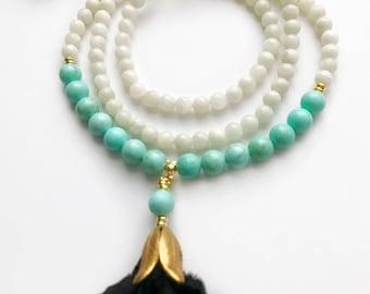 Strength Mala, Turquoise Mala Necklace, Moonstone Mala, Mala Beads, Mala Necklace, Moonstone Necklace, Turquoise Mala, Prayer Beads, Mala