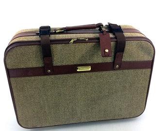 Vintage Tweed Leather Suitcase Mens Samsonite Large Brown Travel Luggage Rolling