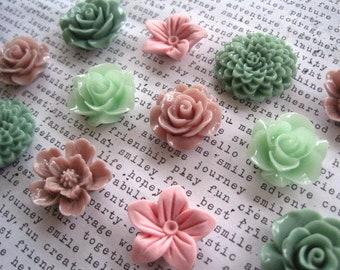 Flower Magnet Set, 12 Magnets, Sage Green, Mint Green, Mauve and Pink, Locker Magnets, Fridge Magnets, Hostess Gift, Wedding Favor