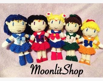 Sailor Moon Inspired Crochet Sailor Moon, Mars, Mercury, Jupiter, Venus & Tuxedo Mask Amigurumi Dolls