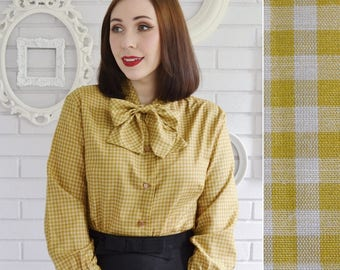 Vintage 1960s Gingham Blouse with Necktie in Dark Gold by Diane Young Size Small or Medium
