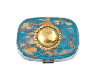 Bejeweled Medallion Oval Metal Pill Box with Mirror Inlaid in Hand Painted Enamel Turquoise Quartz Inspired with Personalized Options