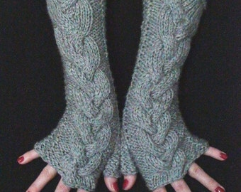 Christmas Gift for Her Fingerless Gloves Light Grey Cabled  Wrist Warmers, Extra Soft and Long made of Acrylic
