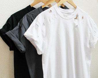 Distressed Unisex Shirt (Black, charcoal, white) S-5XL