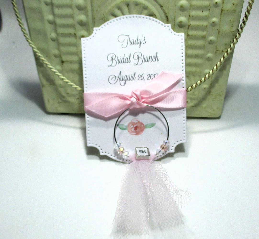 Bridal Brunch Favors Mrs. Wine Glass Charm Favors Set