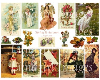 SPRING AUTUMN digital collage sheet, Vintage images Victorian cards seasons flowers girls women leaves Easter Fall Thanksgiving art DOWNLOAD