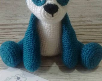 Panda Toy - Crochet Panda - Teal Panda - Baby Gift - Birthday - Children - Unisex - CE Marked
