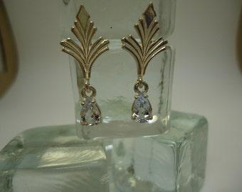 Pear Cut Santa Maria Aquamarine Dangle Earrings in Sterling Silver   #868