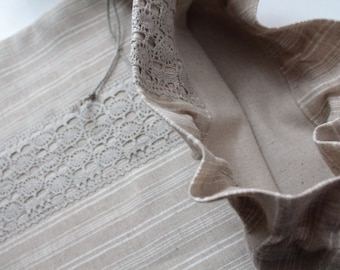 Striped Eco Linen Bread Bag (with Linen Lace) to Keep Bread Wonderfully Fresh
