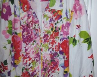 Jacket XL,  Indikka Cotton Summer Bouquet Zippered Jacket.  Size XL