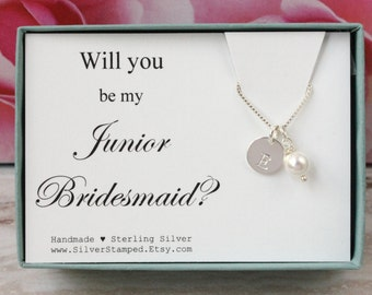 Will you be my Junior Bridesmaid necklace gift for Jr Bridesmaid invite sterling silver initial pearl necklace, personalized bridesmaids