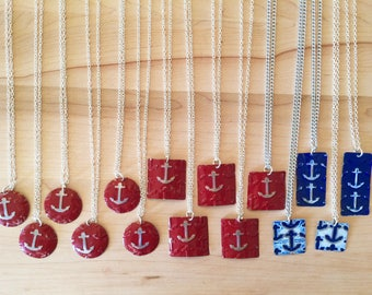 Anchors Aweigh  Pendant or Earrings in red or blue