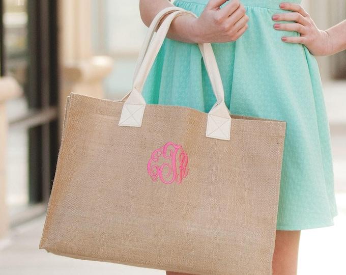 Monogram Burlap Tote Bag, Monogrammed Burlap Purse, Monogrammed Bridesmaid Gifts, Gifts under 25, Personalized Bridesmaid Gifts